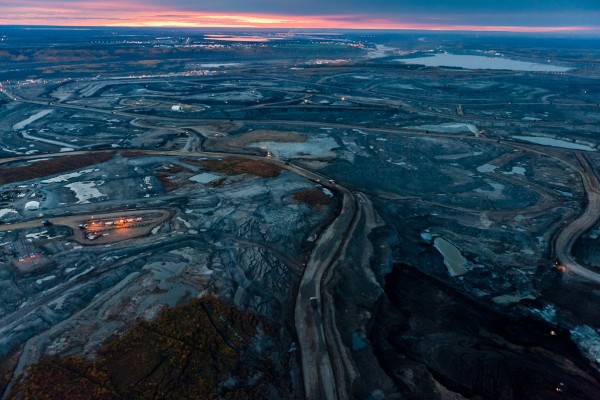 This aerial view shows some of the existing destruction in the Alberta-based tar sands
