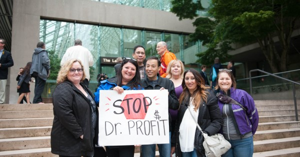 Council of Canadians activists at a rally against for profit healthcare
