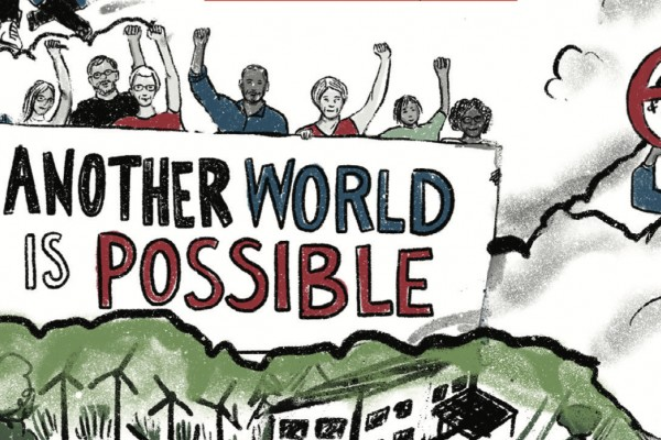 "Illustration of people rallying with a sign saying ""Another World Is Possible"""