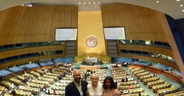 Anil Naidoo, Maude Barlow, and Meera Karunananthan at the UN Assembly.