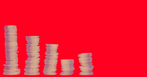 coins on a red background