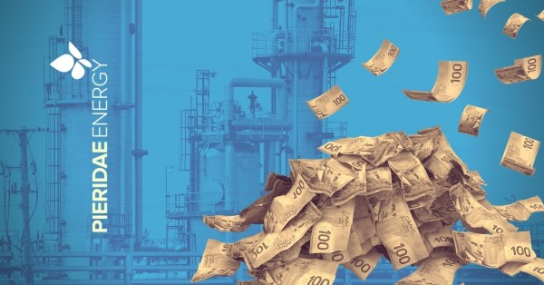 A pile of Canadian $100 dollar bills is dropped on an LNG energy facility